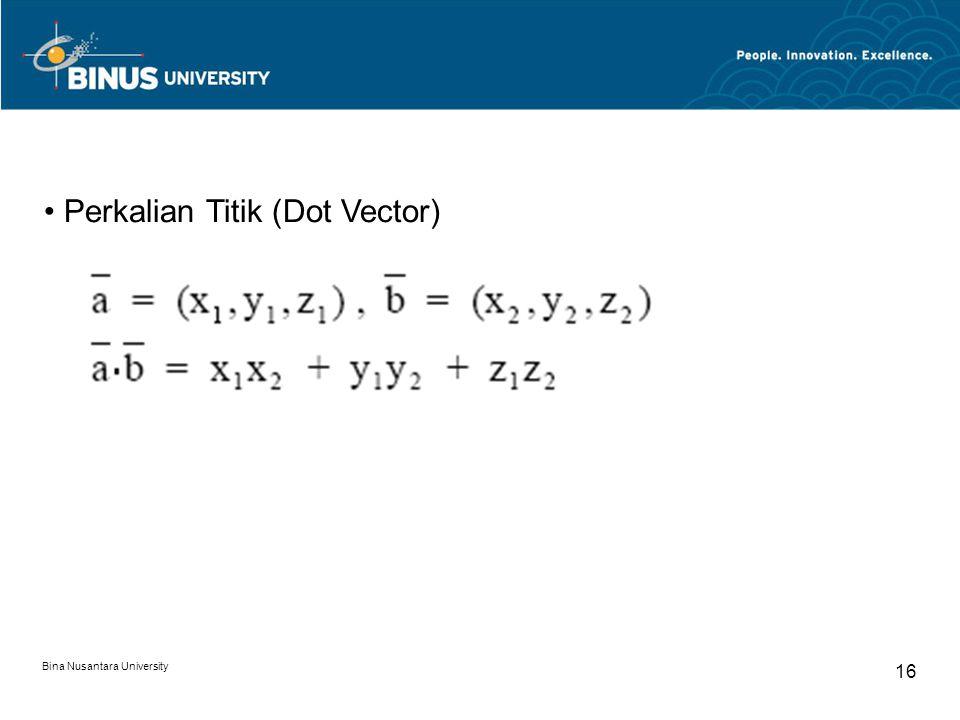 Bina Nusantara University 16 Perkalian Titik (Dot Vector)