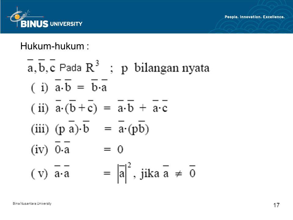 Bina Nusantara University 17 Hukum-hukum :
