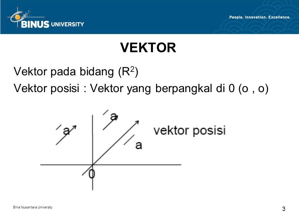 Bina Nusantara University 4 Analisis Vektor : Suatu pasangan berurutan dari 2 bilangan real Misal :