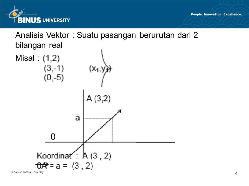 Bina Nusantara University 5 Vektor (o, o) = vektor nol = 0 = (o, o)