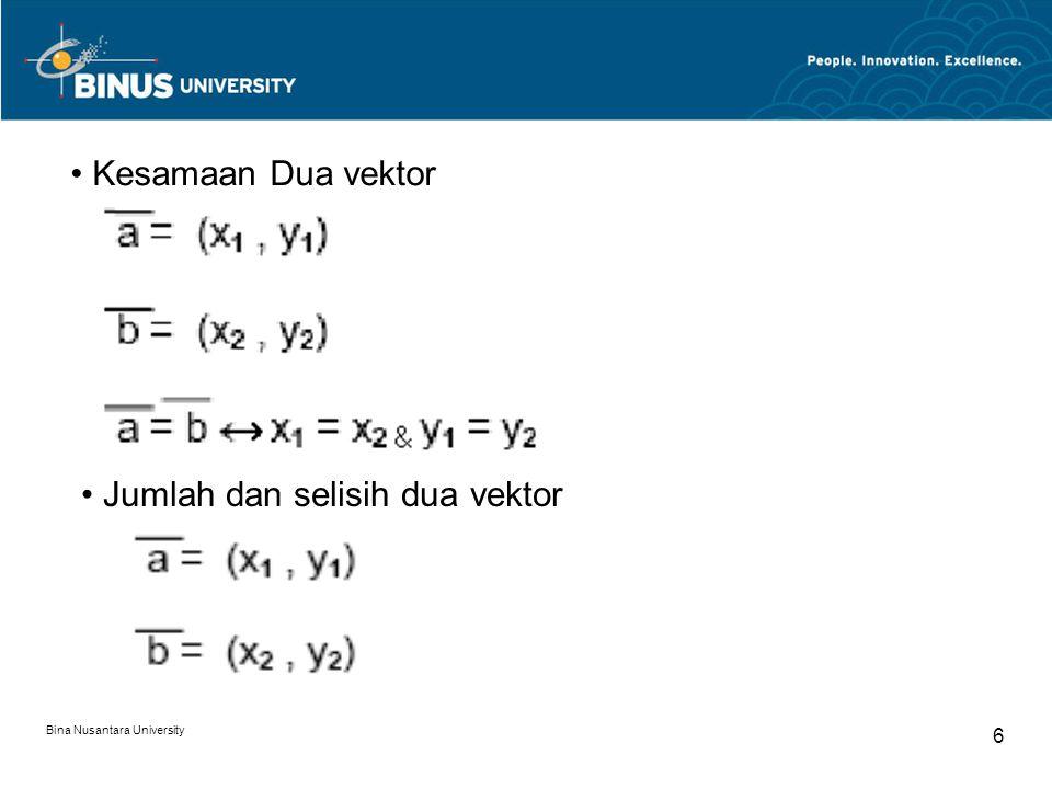 Bina Nusantara University 6 Kesamaan Dua vektor Jumlah dan selisih dua vektor