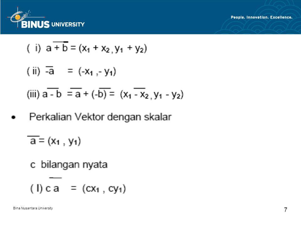 Bina Nusantara University 18 Soal-soal Vektor dan Proyeksi Vektor : 1.