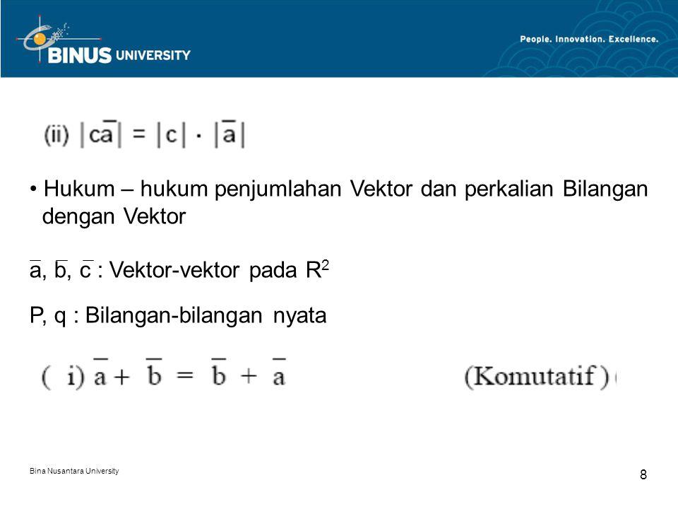 8 Hukum – hukum penjumlahan Vektor dan perkalian Bilangan dengan Vektor a, b, c : Vektor-vektor pada R 2 P, q : Bilangan-bilangan nyata