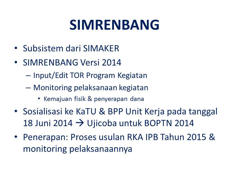 Subsistem dari SIMAKER SIMRENBANG Versi 2014 – Input/Edit TOR Program Kegiatan – Monitoring pelaksanaan kegiatan Kemajuan fisik & penyerapan dana Sosi