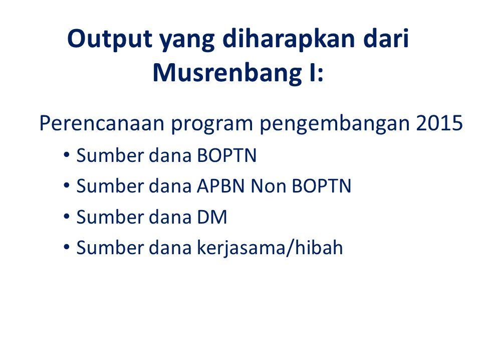 Output yang diharapkan dari Musrenbang I: Perencanaan program pengembangan 2015 Sumber dana BOPTN Sumber dana APBN Non BOPTN Sumber dana DM Sumber dan