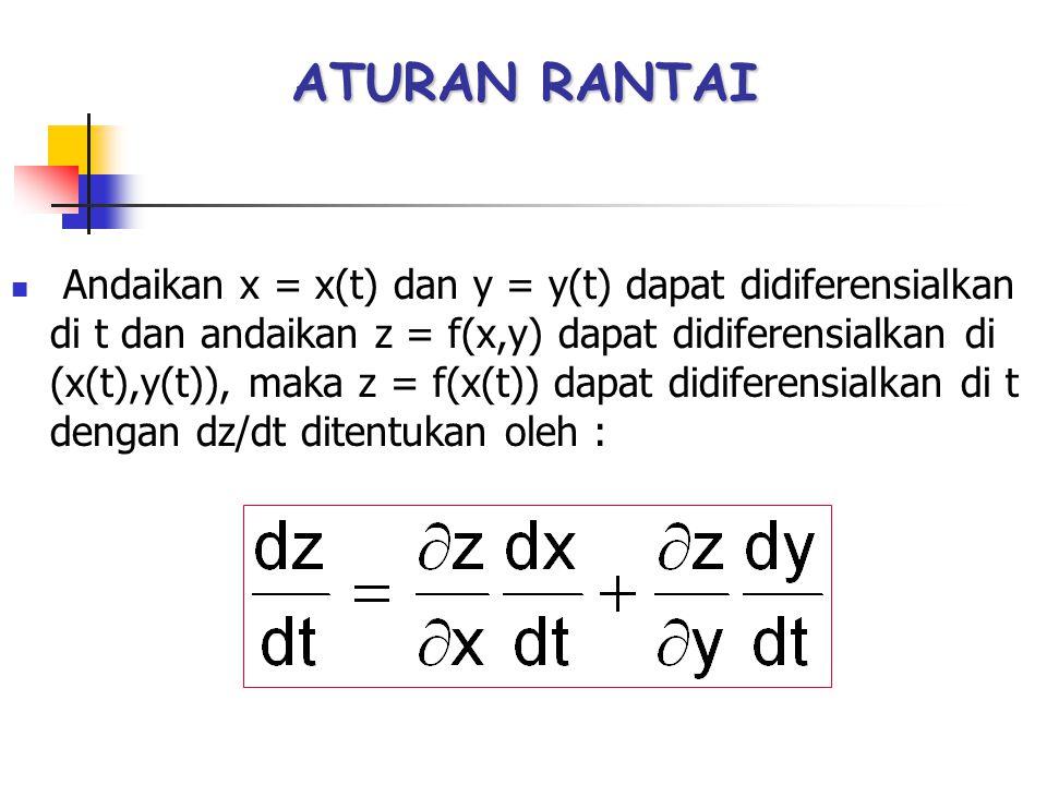 ATURAN RANTAI Andaikan x = x(t) dan y = y(t) dapat didiferensialkan di t dan andaikan z = f(x,y) dapat didiferensialkan di (x(t),y(t)), maka z = f(x(t