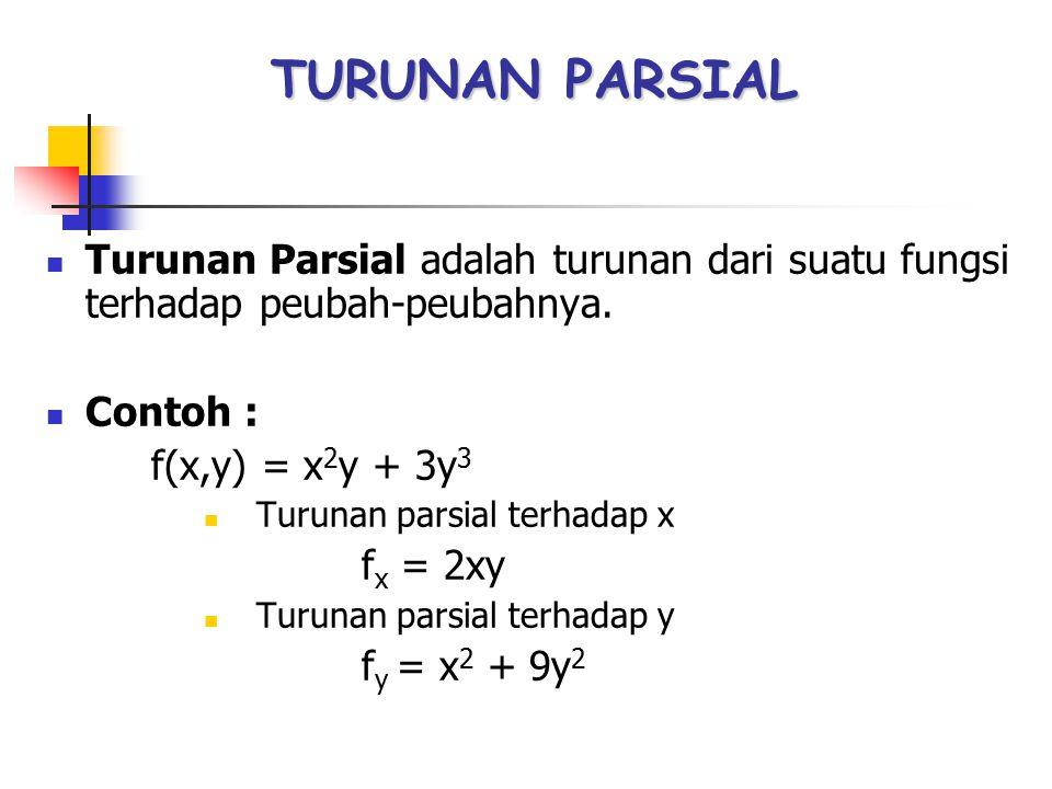 TURUNAN PARSIAL Turunan Parsial adalah turunan dari suatu fungsi terhadap peubah-peubahnya. Contoh : f(x,y) = x 2 y + 3y 3 Turunan parsial terhadap x