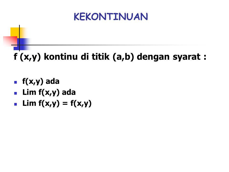 KEKONTINUAN f (x,y) kontinu di titik (a,b) dengan syarat : f(x,y) ada Lim f(x,y) ada Lim f(x,y) = f(x,y)