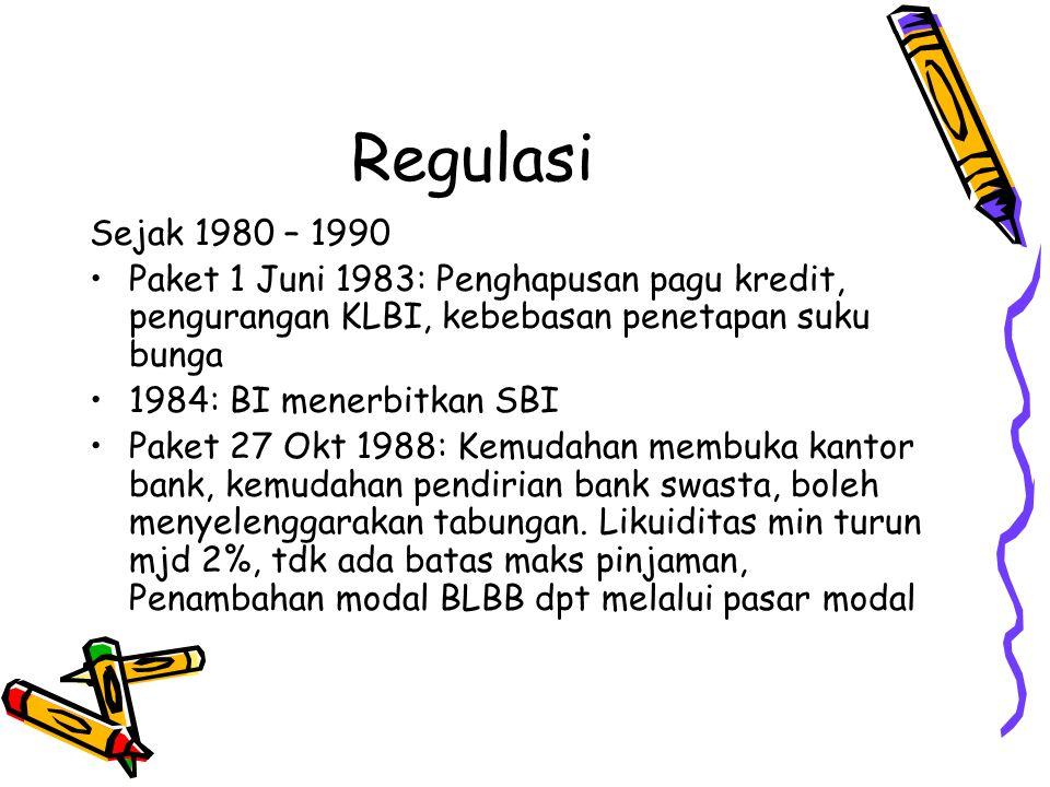 Regulasi Paket 20 Des 1988: Penyelenggaraan bursa efek oleh swasta, leasing, anjak piutang, modal ventura, kartu kredit, pembiayaan konsumen Paket 29 Mei 1993: penyempurnaan aturan kesehatan bank (CAR, LLL, KUK, LDR)