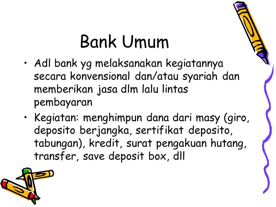 BPR Adl bank yg melaksanakan kegiatannya secara konvensional dan/atau syariah dan tidak memberikan jasa lalu lintas pembayaran Kegiatan: menghimpun dana masy (deposito berjangka, tabungan), kredit