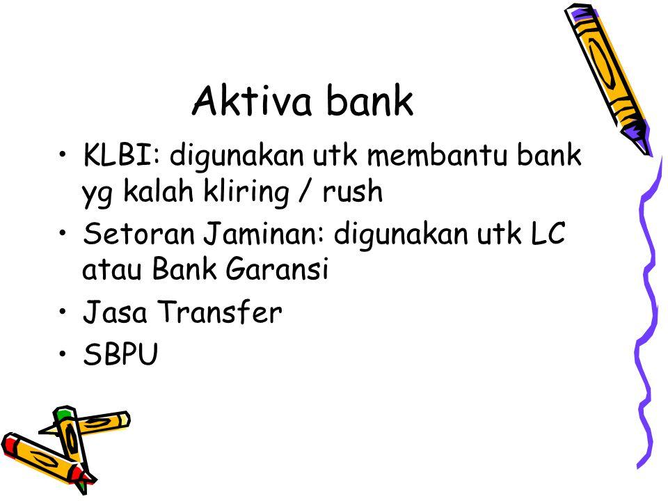 Aktiva bank KLBI: digunakan utk membantu bank yg kalah kliring / rush Setoran Jaminan: digunakan utk LC atau Bank Garansi Jasa Transfer SBPU