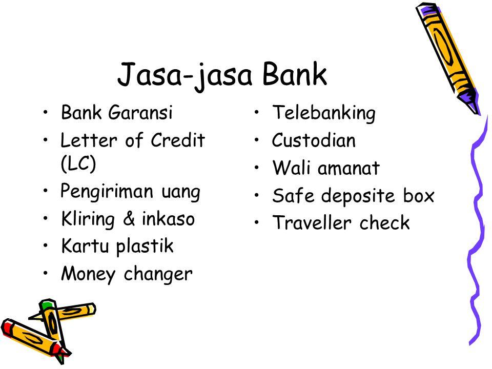 Jasa-jasa Bank Bank Garansi Letter of Credit (LC) Pengiriman uang Kliring & inkaso Kartu plastik Money changer Telebanking Custodian Wali amanat Safe deposite box Traveller check