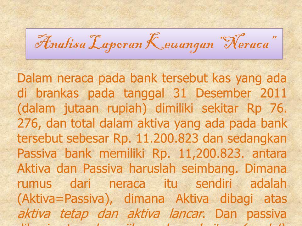 """Analisa Laporan Keuangan """"Neraca"""" Analisa Laporan Keuangan """"Neraca"""" Dalam neraca pada bank tersebut kas yang ada di brankas pada tanggal 31 Desember 2"""