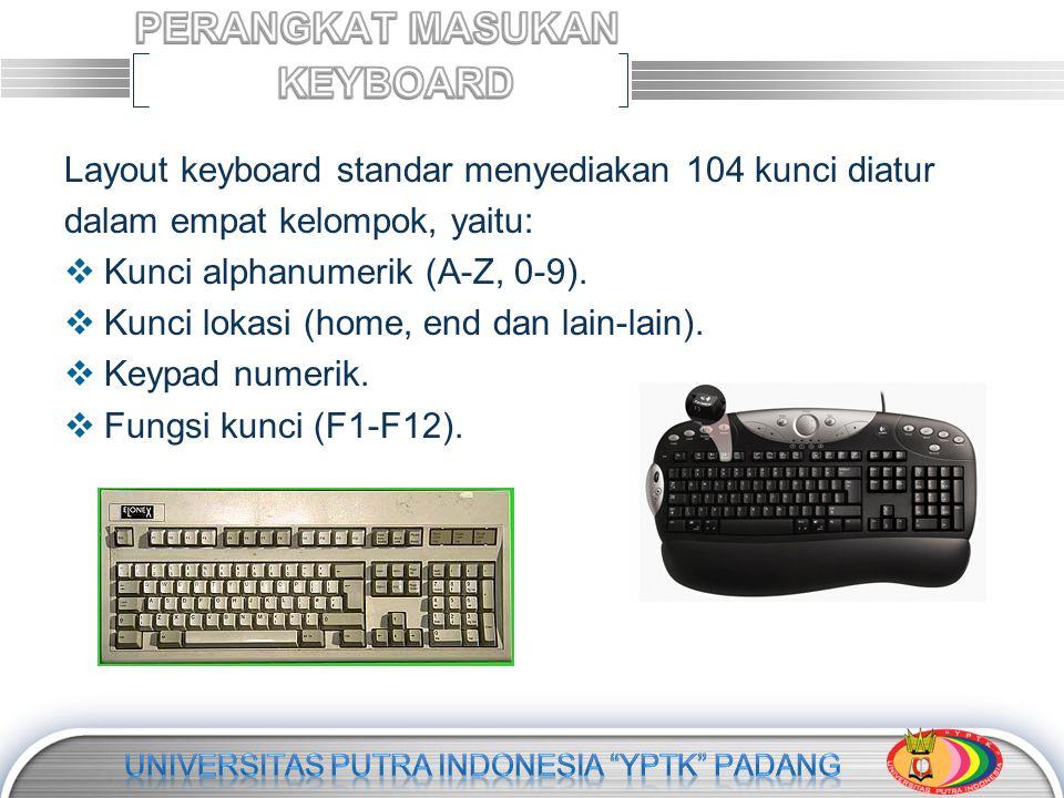 Layout keyboard standar menyediakan 104 kunci diatur dalam empat kelompok, yaitu:  Kunci alphanumerik (A-Z, 0-9).  Kunci lokasi (home, end dan lain-