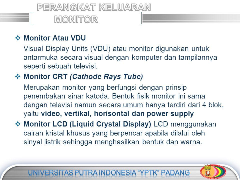 LOGO  Monitor Atau VDU Visual Display Units (VDU) atau monitor digunakan untuk antarmuka secara visual dengan komputer dan tampilannya seperti sebuah