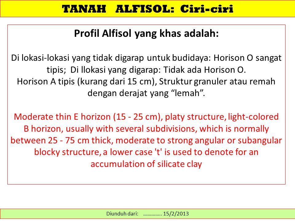 Profil Alfisol yang khas adalah: Di lokasi-lokasi yang tidak digarap untuk budidaya: Horison O sangat tipis; Di llokasi yang digarap: Tidak ada Horiso