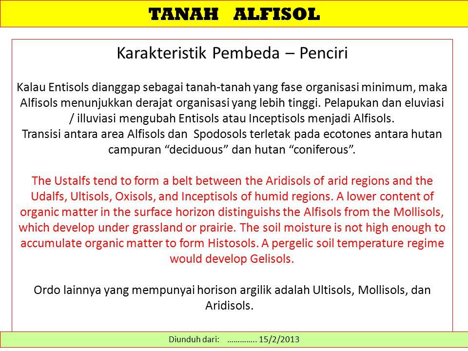 TANAH ALFISOL Karakteristik Pembeda – Penciri Kalau Entisols dianggap sebagai tanah-tanah yang fase organisasi minimum, maka Alfisols menunjukkan dera