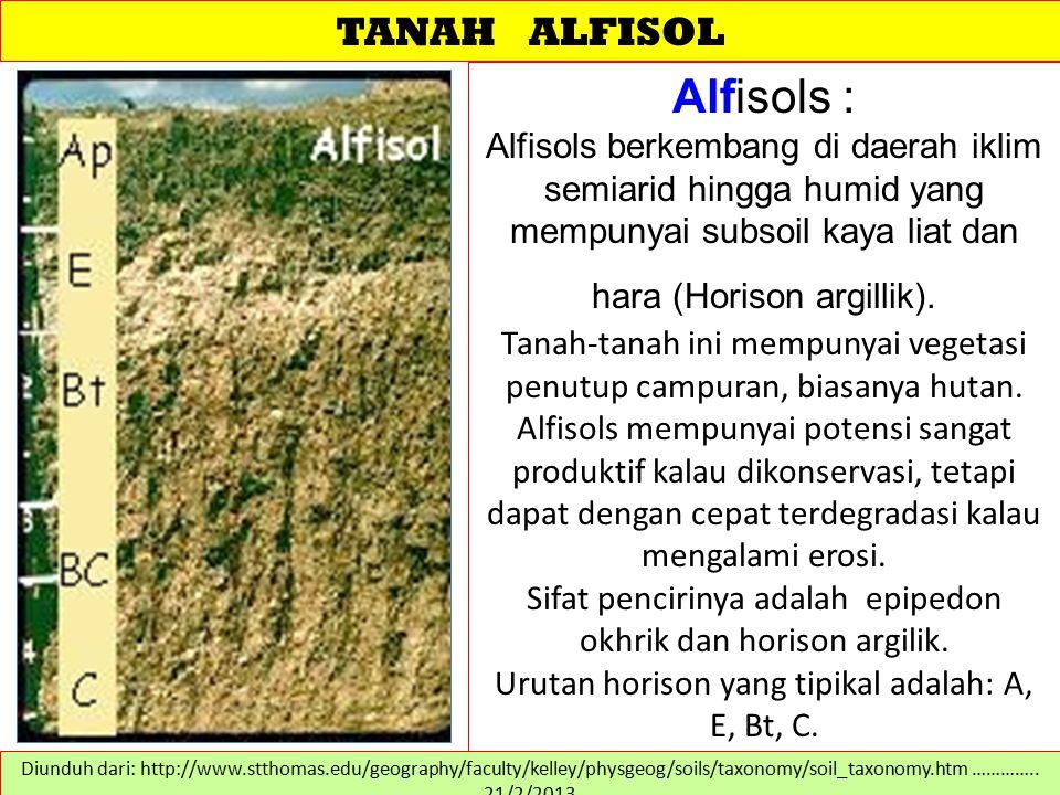 TANAH ALFISOL Alfisols : Alfisols berkembang di daerah iklim semiarid hingga humid yang mempunyai subsoil kaya liat dan hara (Horison argillik). Tanah