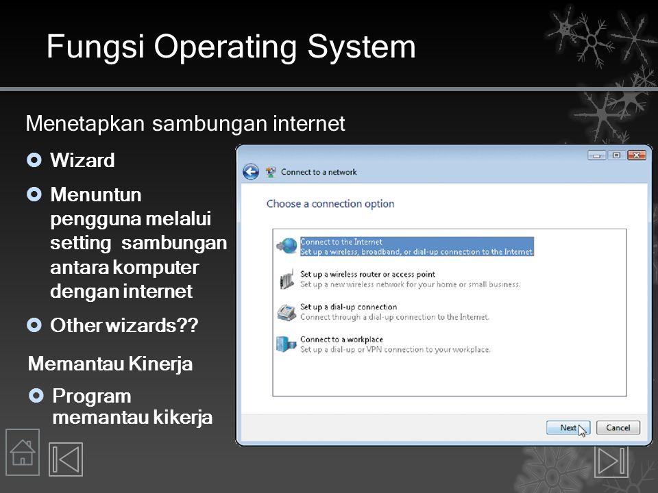 Fungsi Operating System Menetapkan sambungan internet  Wizard  Menuntun pengguna melalui setting sambungan antara komputer dengan internet  Other w