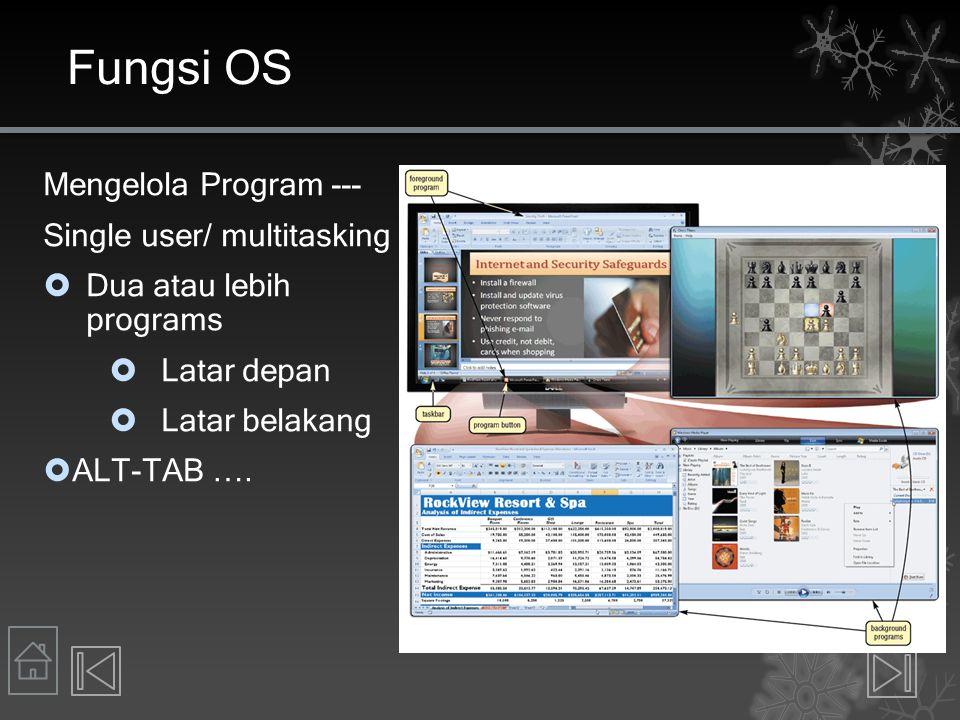Fungsi OS Mengelola Program --- Single user/ multitasking  Dua atau lebih programs  Latar depan  Latar belakang  ALT-TAB ….