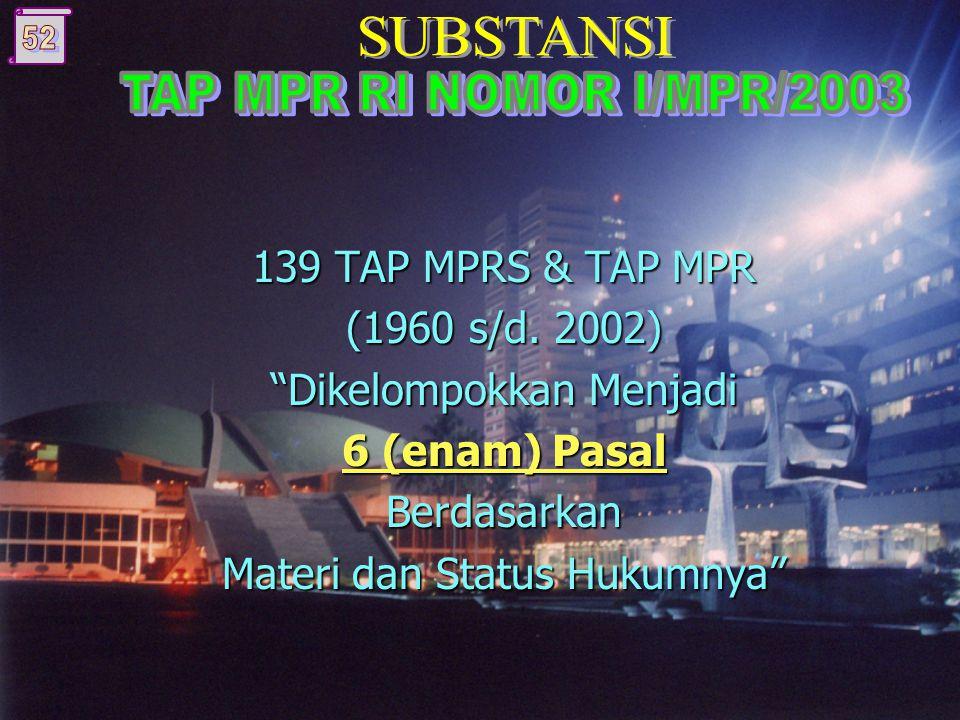  Meninjau materi dan status hukum setiap TAP MPRS dan TAP MPR;  Menetapkan keberadaan (eksistensi) dari TAP MPRS dan TAP MPR untuk saat ini dan masa