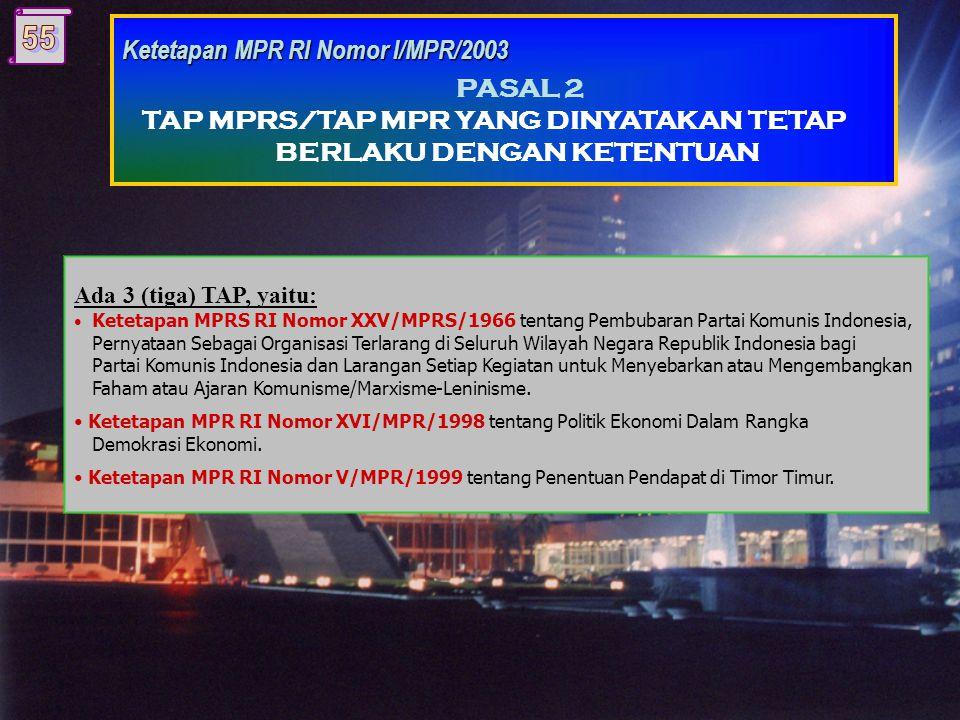 Antara lain: Ketetapan MPR RI Nomor III/MPR/1988 tentang Pemilihan Umum. Ketetapan MPR RI Nomor XIII/MPR/1998 tentang Pembatasan Masa Jabatan Presiden