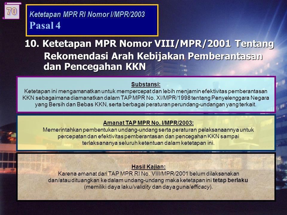 9. TAP MPR Nomor VII/MPR/2001 Tentang Visi Indonesia Masa Depan Substansi: Visi Indonesia masa depan diperlukan untuk menjaga kesinambungan arah penye
