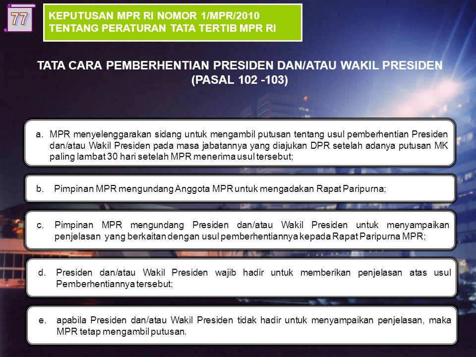 TATA CARA PEMBERHENTIAN PRESIDEN DAN/ATAU WAKIL PRESIDEN (PASAL 102 -103) Usul DPR disertai Putusan MK DPR (Usul Pemberhentian Presiden/ Wakil Preside