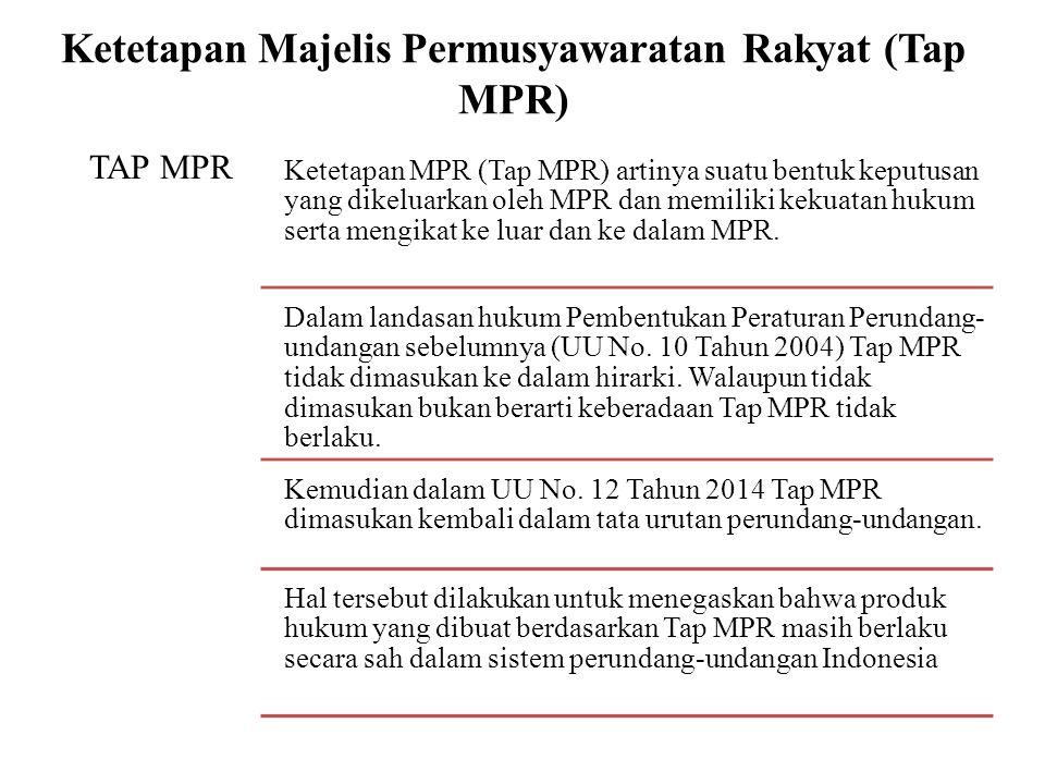 Ketetapan Majelis Permusyawaratan Rakyat (Tap MPR) TAP MPR Ketetapan MPR (Tap MPR) artinya suatu bentuk keputusan yang dikeluarkan oleh MPR dan memili