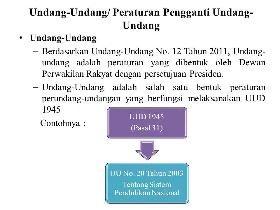Undang-Undang/ Peraturan Pengganti Undang- Undang Undang-Undang – Berdasarkan Undang-Undang No. 12 Tahun 2011, Undang- undang adalah peraturan yang di