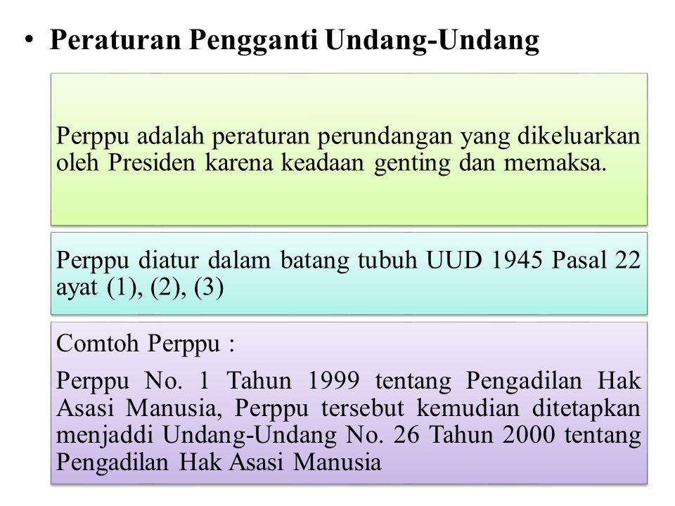 Peraturan Pengganti Undang-Undang Perppu adalah peraturan perundangan yang dikeluarkan oleh Presiden karena keadaan genting dan memaksa. Perppu diatur