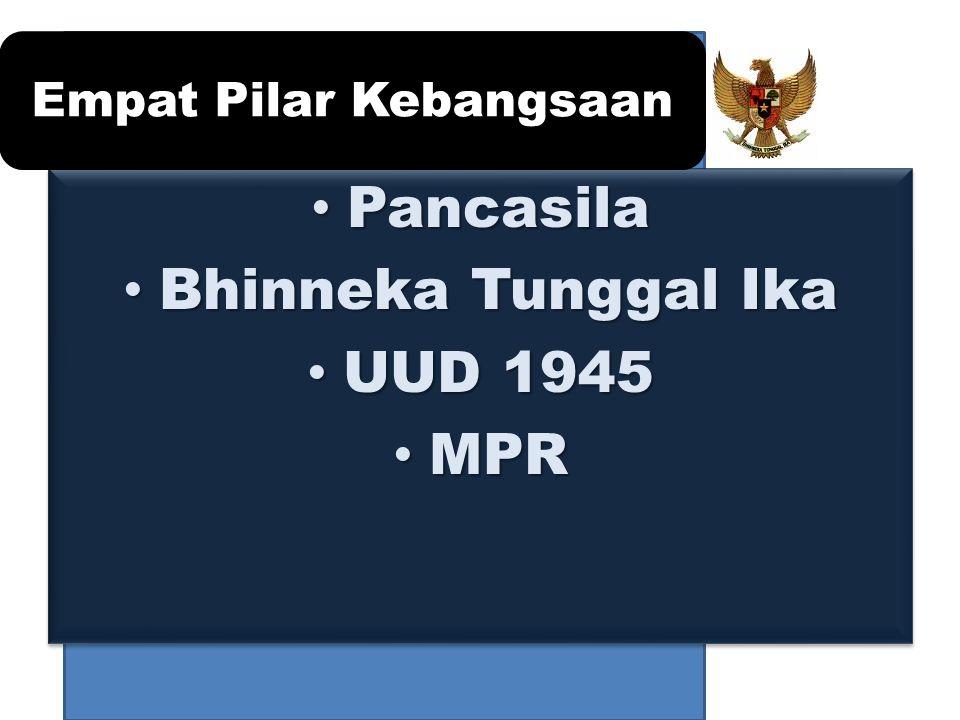 Pancasila Pancasila Bhinneka Tunggal Ika Bhinneka Tunggal Ika UUD 1945 UUD 1945 MPR MPR Pancasila Pancasila Bhinneka Tunggal Ika Bhinneka Tunggal Ika