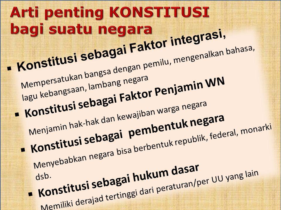  Konstitusi sebagai Faktor integrasi, Mempersatukan bangsa dengan pemilu, mengenalkan bahasa, lagu kebangsaan, lambang negara  Konstitusi sebagai Fa