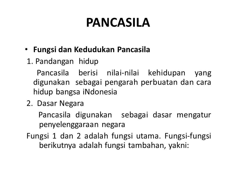 PANCASILA Fungsi dan Kedudukan Pancasila 1. Pandangan hidup Pancasila berisi nilai-nilai kehidupan yang digunakan sebagai pengarah perbuatan dan cara
