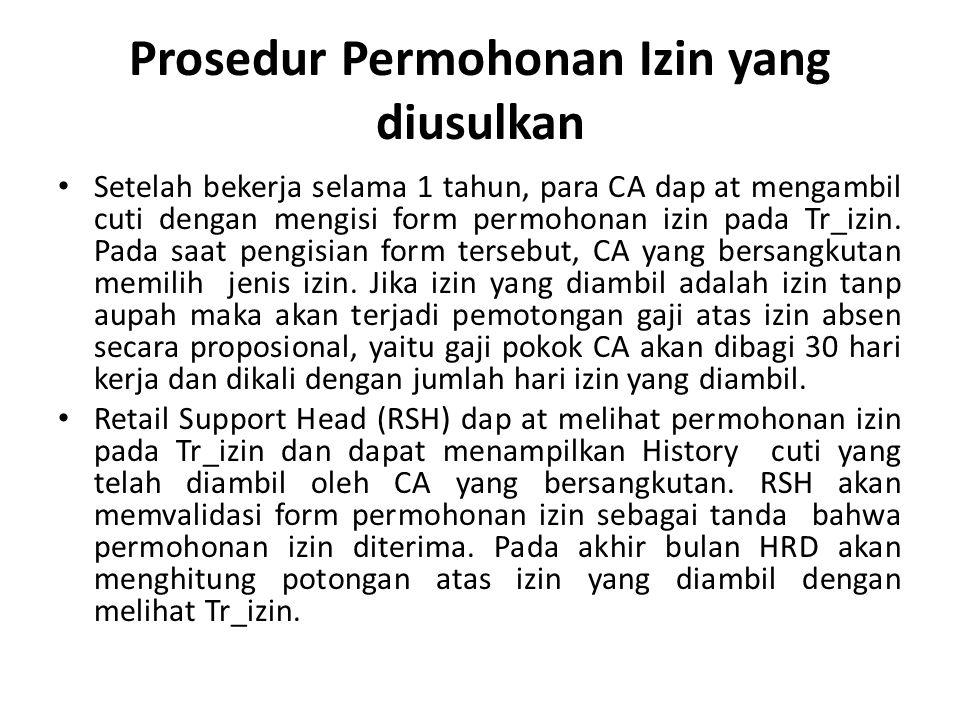 Prosedur Permohonan Izin yang diusulkan Setelah bekerja selama 1 tahun, para CA dap at mengambil cuti dengan mengisi form permohonan izin pada Tr_izin