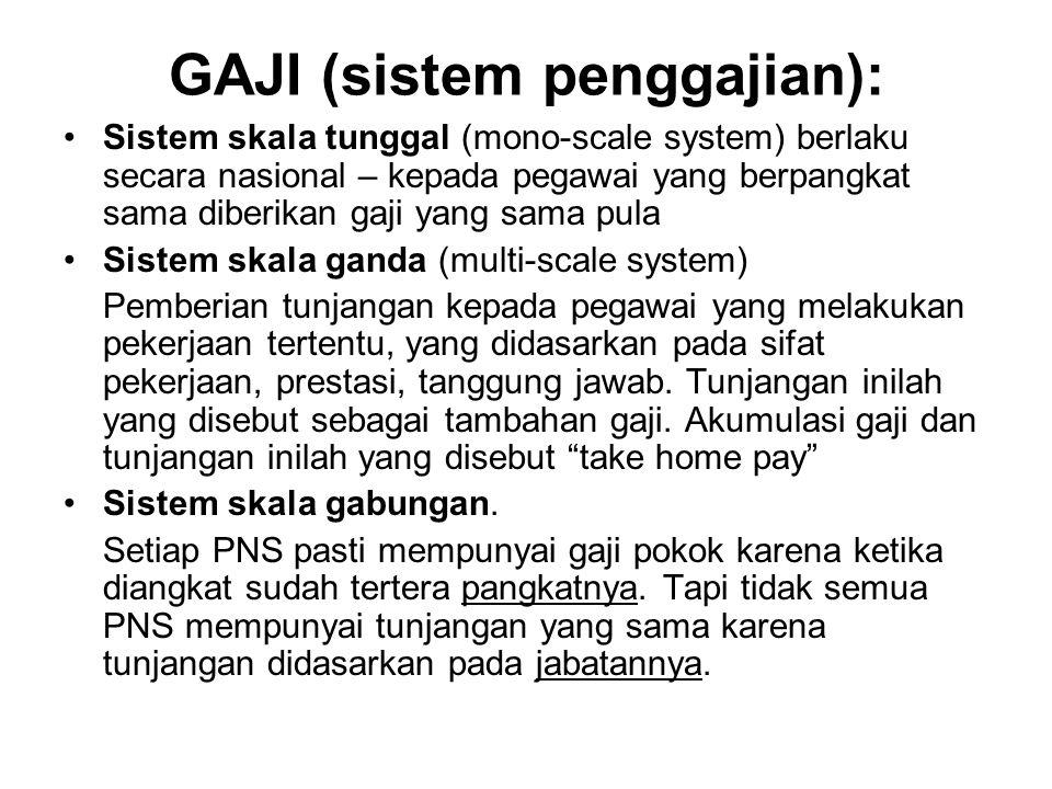 GAJI (sistem penggajian): Sistem skala tunggal (mono-scale system) berlaku secara nasional – kepada pegawai yang berpangkat sama diberikan gaji yang s