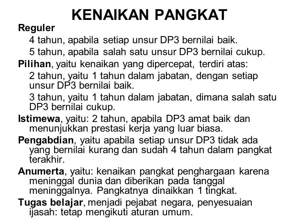 KENAIKAN PANGKAT Reguler 4 tahun, apabila setiap unsur DP3 bernilai baik. 5 tahun, apabila salah satu unsur DP3 bernilai cukup. Pilihan, yaitu kenaika