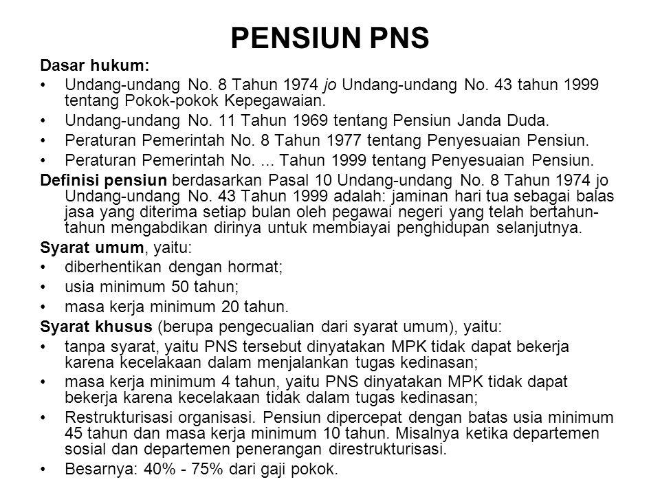 PENSIUN PNS Dasar hukum: Undang-undang No. 8 Tahun 1974 jo Undang-undang No. 43 tahun 1999 tentang Pokok-pokok Kepegawaian. Undang-undang No. 11 Tahun