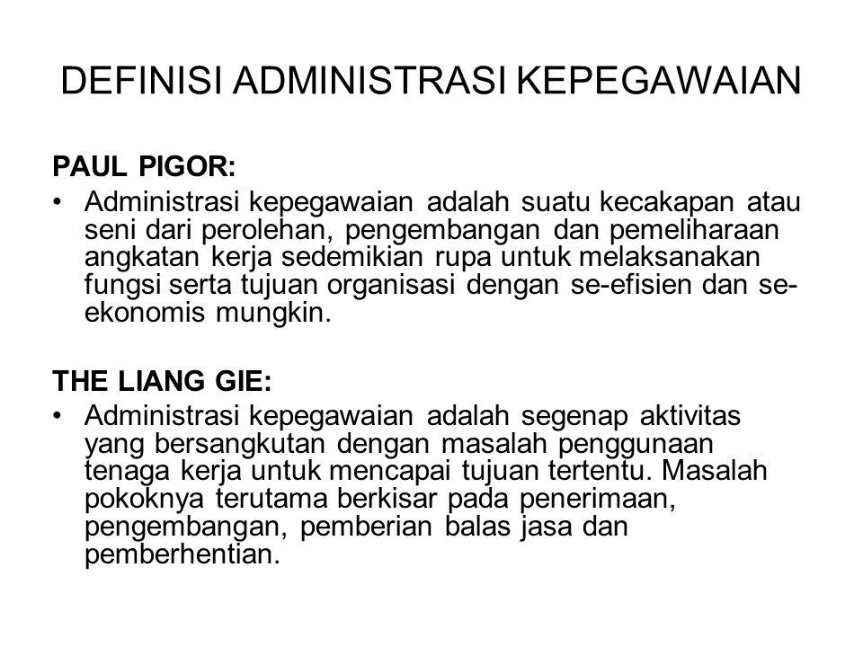 Aspek administrasi kepegawaian: 1.Seni memilih pegawai baru, mempergunakan dan mempekerjakan pegawai lama.