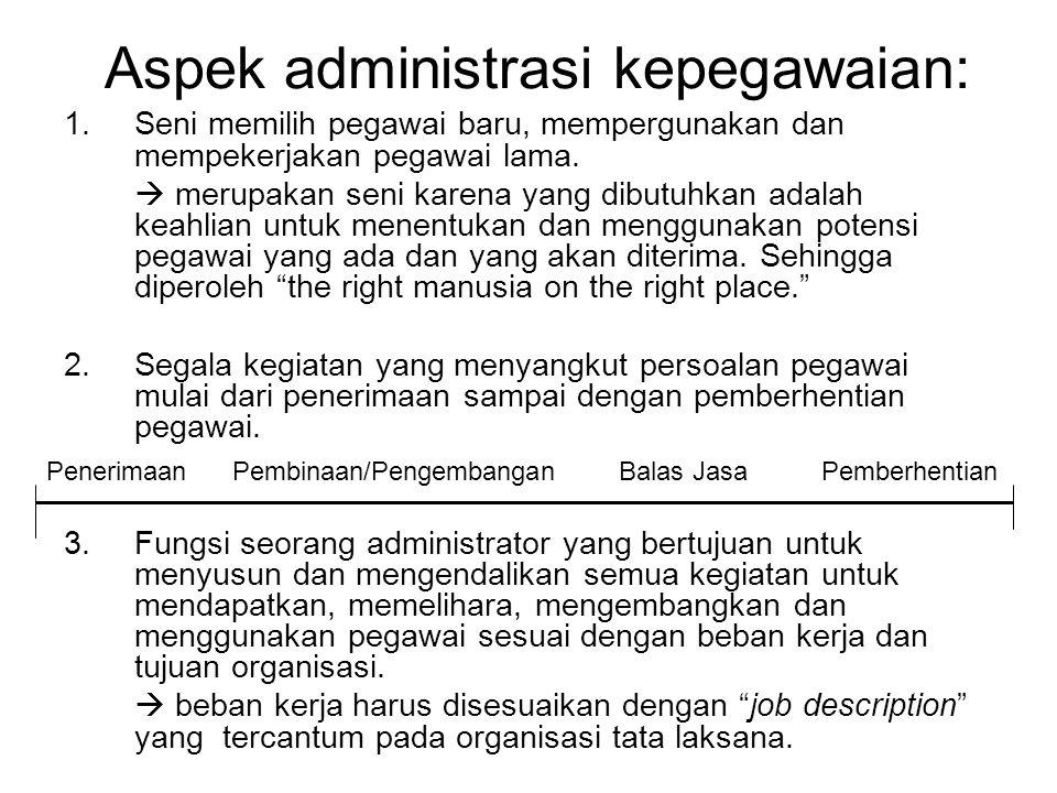Aspek administrasi kepegawaian: 1.Seni memilih pegawai baru, mempergunakan dan mempekerjakan pegawai lama.  merupakan seni karena yang dibutuhkan ada