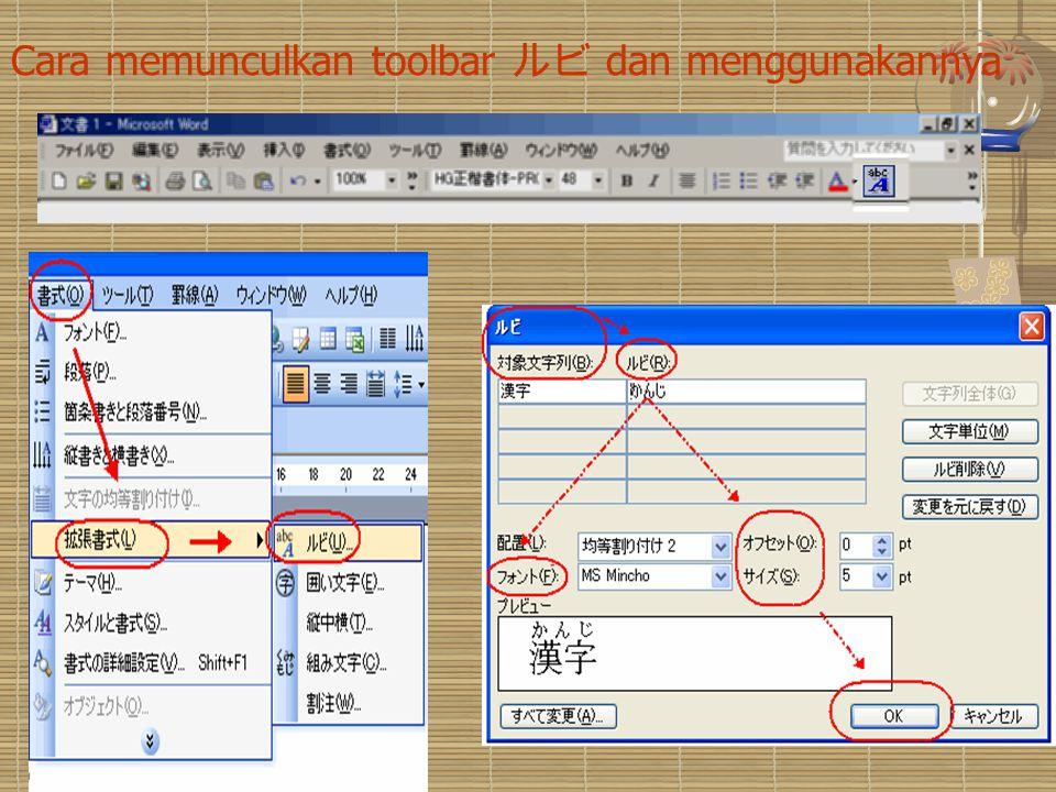 Cara memunculkan toolbar ルビ dan menggunakannya