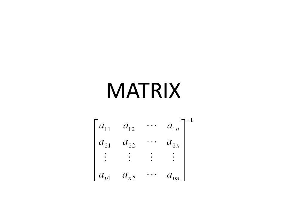 Matrix Matrix : kumpulan bilangan yang disajikan secara teratur dalam baris dan kolom yang membentuk suatu persegi panjang, serta termuat diantara sepasang tanda kurung.