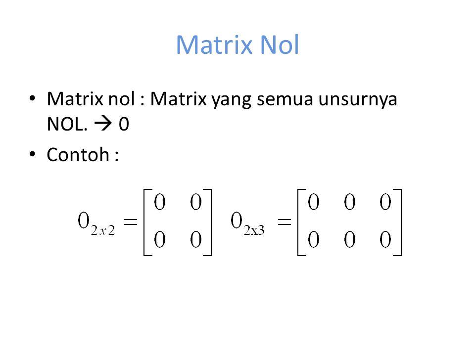 Matrix Nol Matrix nol : Matrix yang semua unsurnya NOL.  0 Contoh :