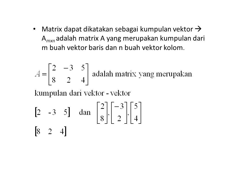 Matrix dapat dikatakan sebagai kumpulan vektor  A mxn adalah matrix A yang merupakan kumpulan dari m buah vektor baris dan n buah vektor kolom.