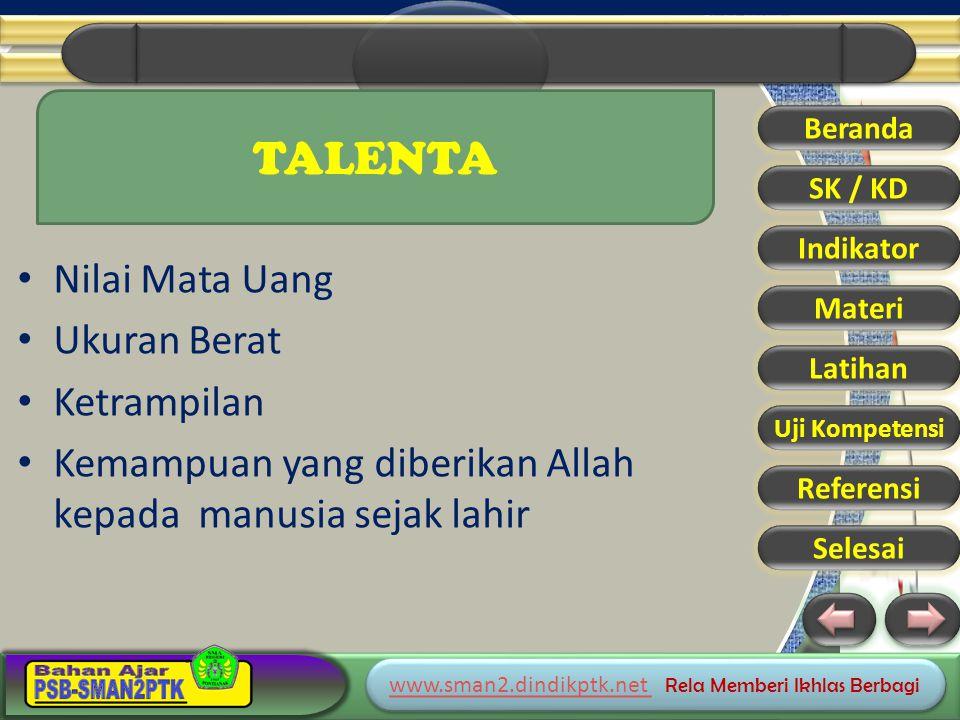 www.sman2.dindikptk.net www.sman2.dindikptk.net Rela Memberi Ikhlas Berbagi www.sman2.dindikptk.net www.sman2.dindikptk.net Rela Memberi Ikhlas Berbagi Beranda SK / KD Indikator Materi Latihan Uji Kompetensi Referensi Selesai TALENTA Nilai Mata Uang Ukuran Berat Ketrampilan Kemampuan yang diberikan Allah kepada manusia sejak lahir
