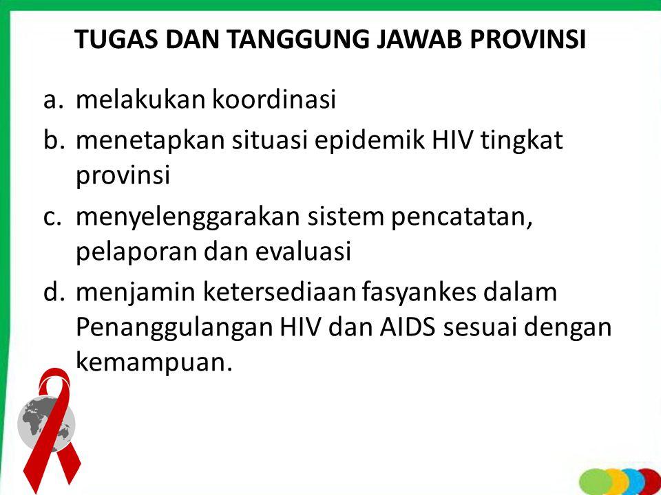 TUGAS DAN TANGGUNG JAWAB PROVINSI a.melakukan koordinasi b.menetapkan situasi epidemik HIV tingkat provinsi c.menyelenggarakan sistem pencatatan, pela