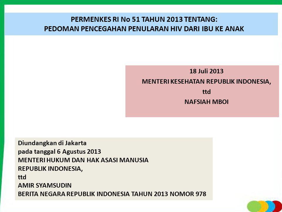 PERMENKES RI No 51 TAHUN 2013 TENTANG: PEDOMAN PENCEGAHAN PENULARAN HIV DARI IBU KE ANAK 18 Juli 2013 MENTERI KESEHATAN REPUBLIK INDONESIA, ttd NAFSIA