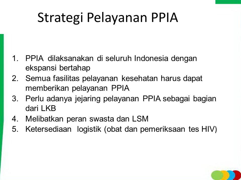 Strategi Pelayanan PPIA 1. PPIA dilaksanakan di seluruh Indonesia dengan ekspansi bertahap 2. Semua fasilitas pelayanan kesehatan harus dapat memberik