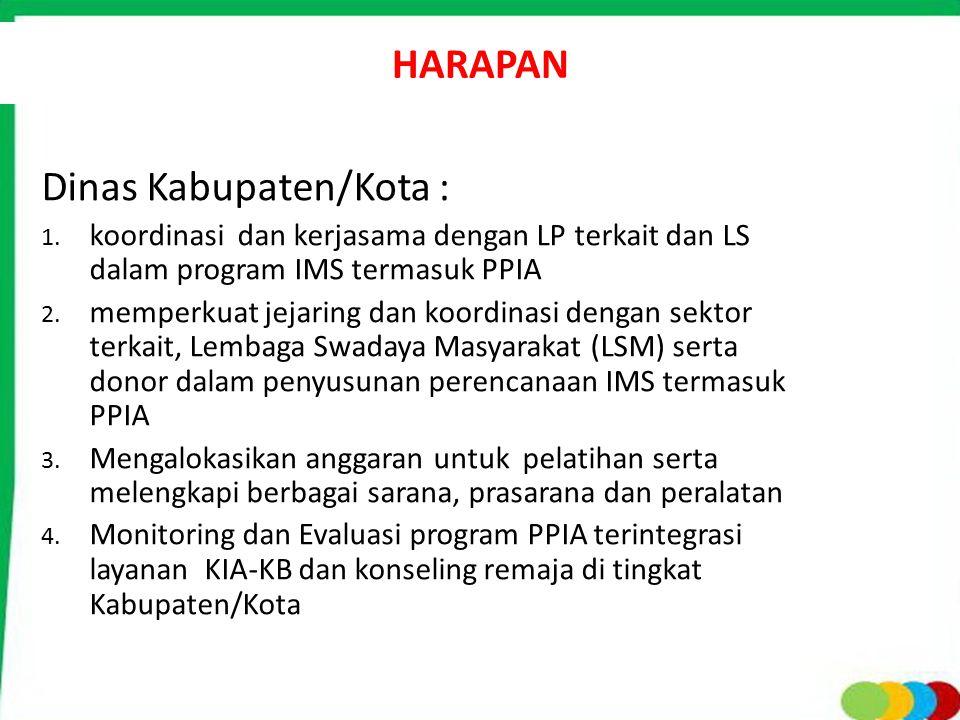 HARAPAN Dinas Kabupaten/Kota : 1. koordinasi dan kerjasama dengan LP terkait dan LS dalam program IMS termasuk PPIA 2. memperkuat jejaring dan koordin