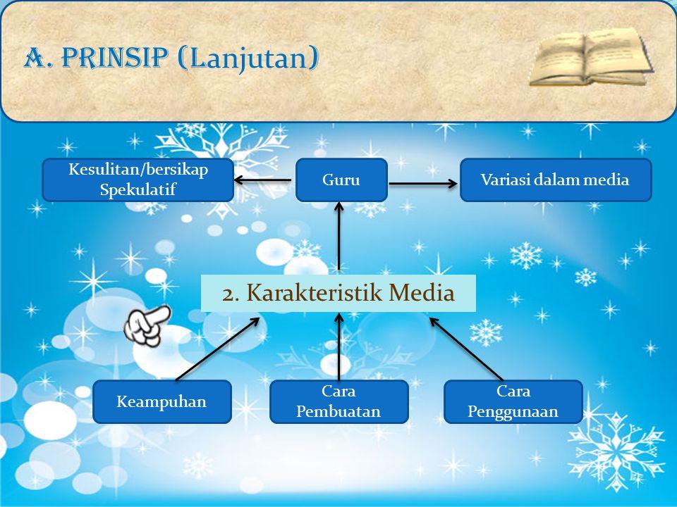 A. PRINSIP (L anjutan ) 2. Karakteristik Media Keampuhan Cara Pembuatan Cara Penggunaan Variasi dalam media Kesulitan/bersikap Spekulatif Guru
